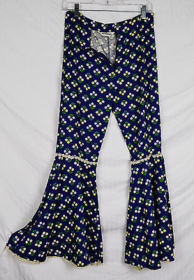 Vintage 1960s 1970s Crop Bell Bottom Pants Women Funky 70s