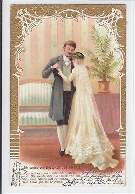 AK Glückwunsch Hochzeit, Tanzendes Brautpaar, 1904