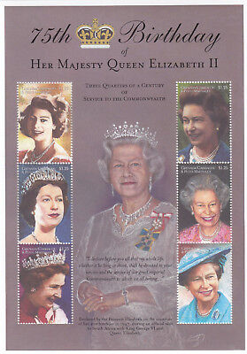 (70553N) Grenada Carriacou Petite Martinique MNH Queen 75th Birthday minisheet