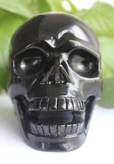 Crystal Skull Carving Black Obsidian ART Rare