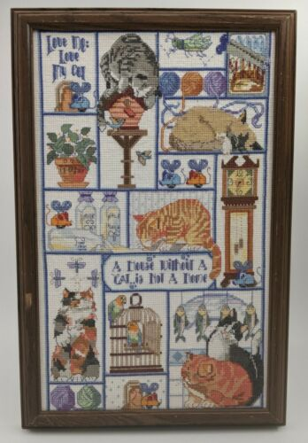 Vintage Bucilla Cats Cats Cats Cross Stitch 1995 COMPLETED Finished Beautiful