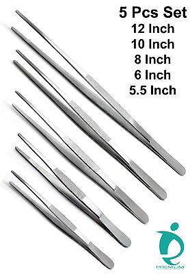Dressing Tissue Thumb Forceps 5.5 6 8 10 12 Surgical Tweezers Set Of 5