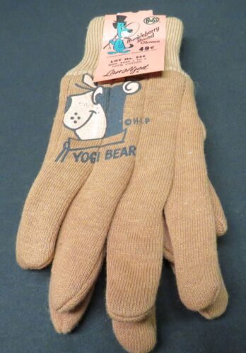Vintage Childs Yogi Bear Hanna Barbera Productions, Huckleberry Hound Tan Gloves
