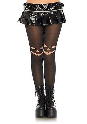 Black Sheer Jack O' Lantern Pumpkin Tights Halloween Costume Accessories OS