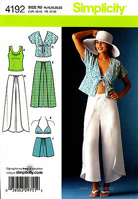 Simplicity Sewing Pattern 4192 Womens 14-22 Wrap Pants Shorts Kimono Top Bra top