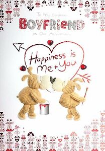 To My Gorgeous BOYFRIEND on Our Anniversary. CUTE Boofle Greeting Card.