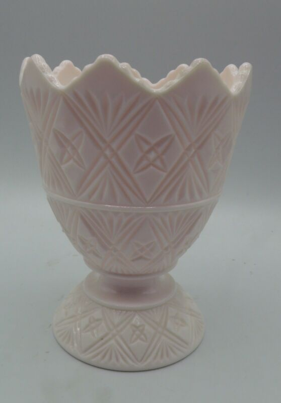 "Vintage Napco Light Pink Milk Glass Vase Planter Bowl Egg Shell Shape 6"" H"