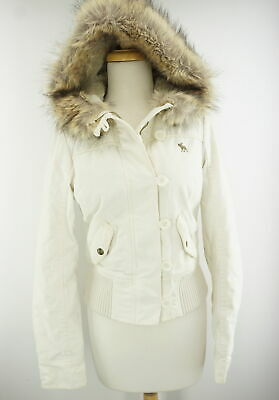 Abercrombie & Fitch Women's Girls Fur Trim Hooded Parka Coat