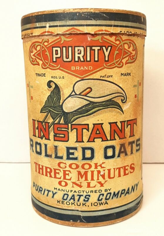 ANTIQUE PURITY BRAND INSTANT ROLLED OATS CARDBOARD CONTAINER LILY ON FRONT 1920s