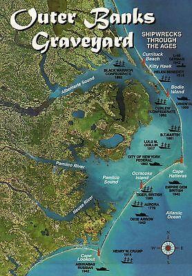 Outer Banks Graveyard  Shipwrecks  Atlantic  North Carolina    Ship Map Postcard