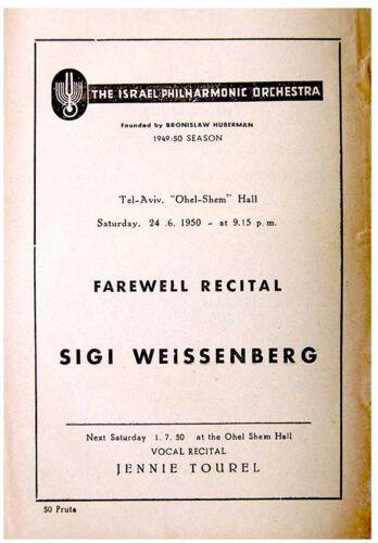 1950 SIGI WEISSENBERG Program PIANO RECITAL Prokofieff BLOCH Mozart LISZT Israel