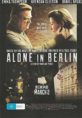 Promotional Movie Flyer - ALONE IN BERLIN (2016) **Emma Thmpson, Daniel Bruhl**