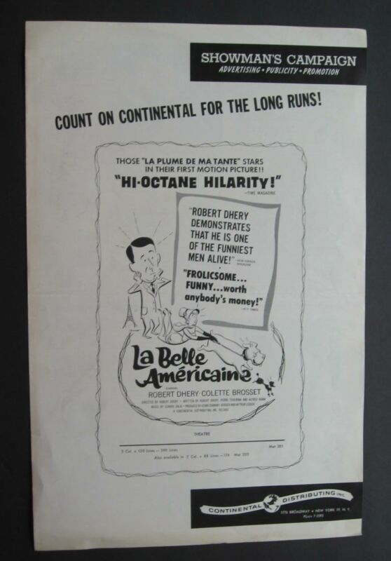 Press Publicity Release For La Belle Americaine Robert Dhery French Comedy 1961