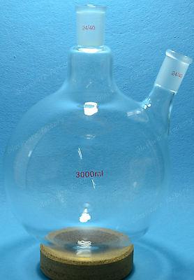 Round Bottom Glass Flask3000ml2440two-necktwins Necks3llab Boiling Vessel