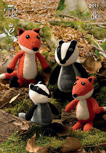 KING COLE PATTERN 9011.  TOYS - MOTHER & BABY -  FOX & BADGER.