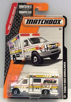 New/Sealed Matchbox 2016 FORD F-350 AMBULANCE #75/120 SUAS Santa Ursula MONMC!