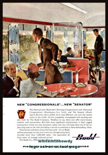 1952 PENNSYLVANIA RAILROAD Congressional and Senator Budd Train AD