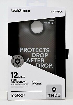 Tech21 Evo Check Series Protective Gel Case for Motorola Moto Z4 Smoke Black (Moto Check)