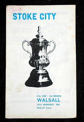 Stoke City v Walsall    fa cup 3rd round   22-1-1966