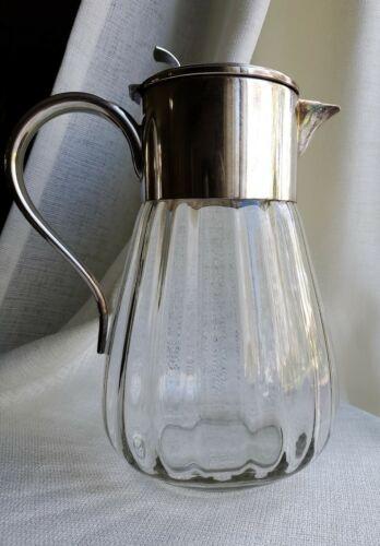 "Modern WMF Germany Eisenberg Lozano Optic Glass Silver Plate Large Pitcher 12"""