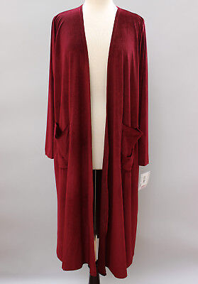 Medium LuLaRoe Sarah Beautiful Velvet Velour Solid Burgundy Red Duster Cardigan