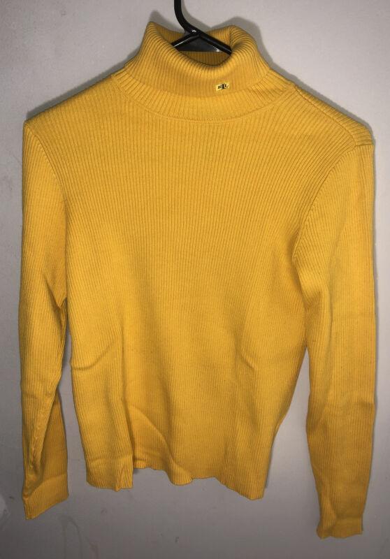 Lauren Ralph Lauren Women L Yellow Ribbed Turtleneck Sweater LRL Logo Size Small