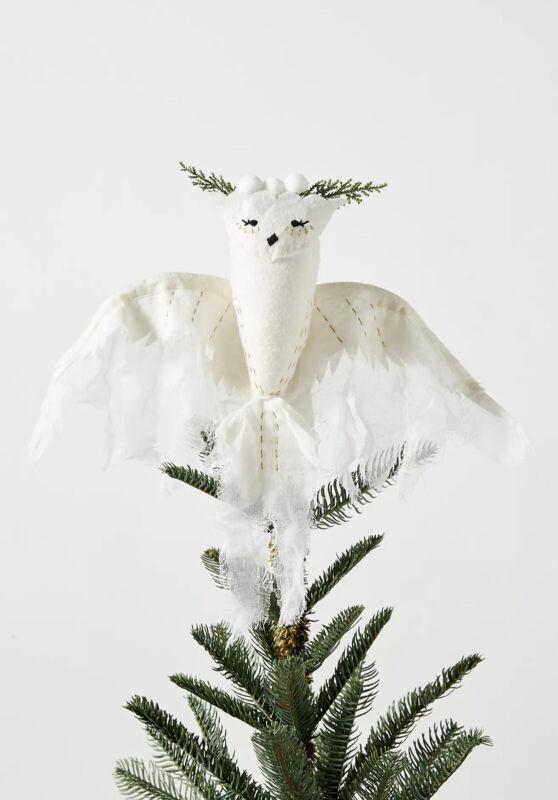 Anthropologie Fauna Lune Snowy Owl Christmas Tree Topper Cream Felt Bird