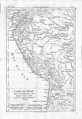 Antique maps, Carte du Perou avec une partie des pays qui en sont l'est