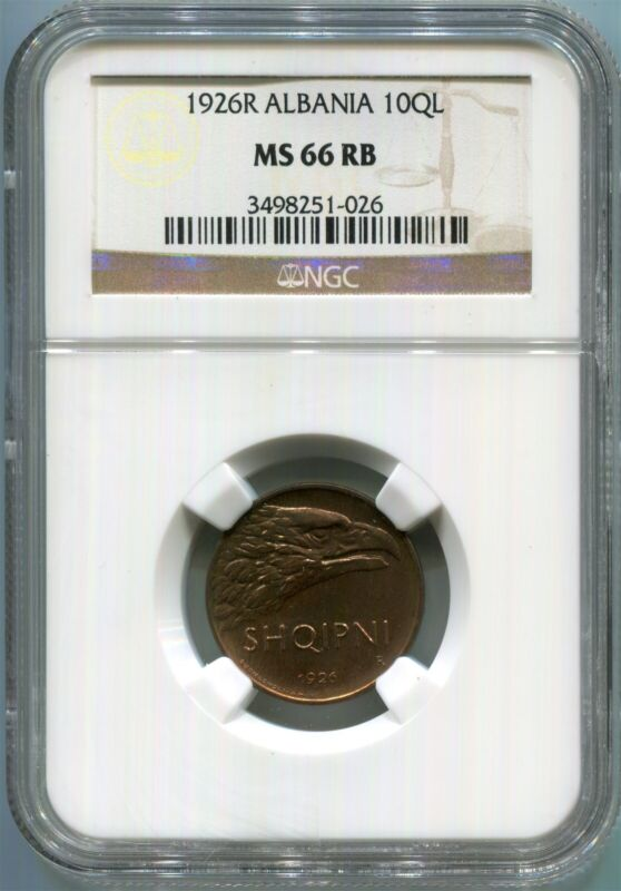 Albania - 1926R 10QL KM#2 in NGC MS 66 RB