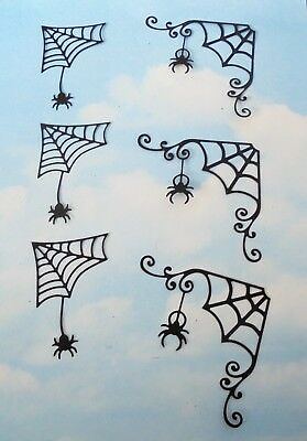 Die Cut  Halloween corner spider webs x 6 black silhouette topper card making