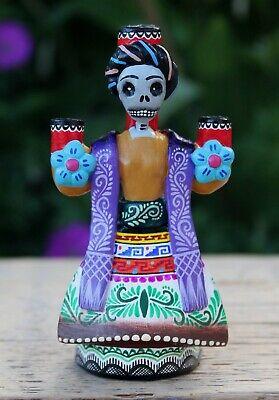 Tiny Frida Kahlo Candelabra Day Of The Dead Skeleton Handmade Mexican Folk Art