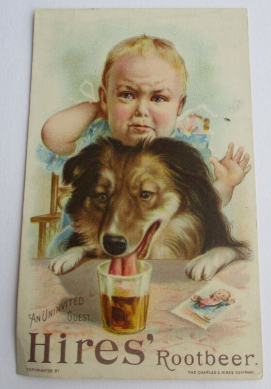 Vintage HIRES ROOT BEER Trade Card---Family dog drinks baby