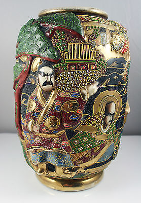 Antique Japanese Meiji Satsuma Moriage Vase Raised Decoration- Signed