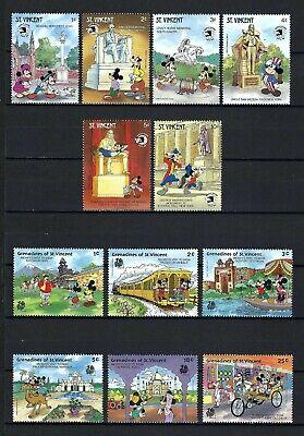 DISNEY-St Vincent/Grenadines 1989 Sc#1256-61, #623-8  World Stamp Expo/India  MNH