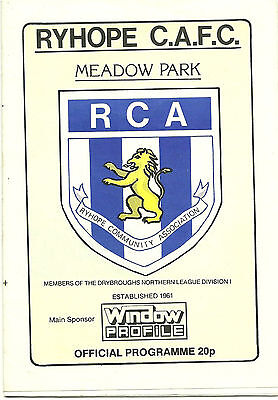 *RYHOPE C.A.F.C. v CONGLETON TOWN 4th OCTOBER 1986 FA TROPHY 1st QUALIFYING RD