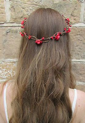 Rote Rose Blumen Haar Krone Kranz Blumengewinde Boho Kopfschmuck Braut X-37