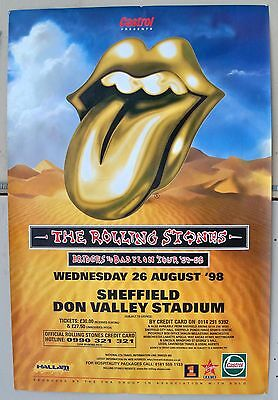 Original 1998 UK 60 x 40 Subway Size Poster Rolling Stones Sheffield Concert  B on Rummage