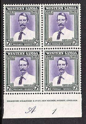 Western Samoa Stamps, 4 Blocks of four.1d, 1 1/2d, 2 1/2d, & 7d.  SG.195-198