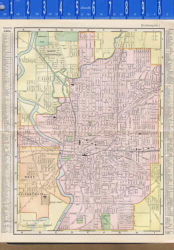 City of Indianapolis, Indiana - 1897 Color Map