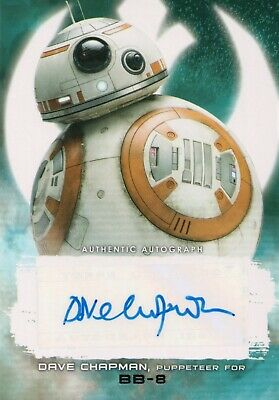 Star Wars The Last Jedi,  Dave Chapman as 'BB-8' Autograph Card A-DC