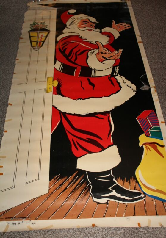 Vintage 1950s Lerner Corwin Door Cover Hanging Christmas Santa Claus