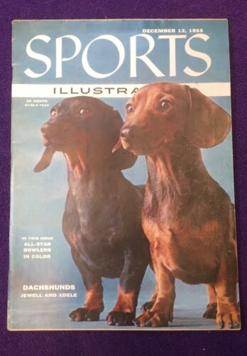 SPORTS ILLUSTRATED - 1955 DECEMBER  MAGAZINE = DACHSHUNDS