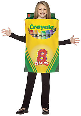 Crayola Box Child Halloween Costume 7-10 School Crayons One-Piece Unisex - Crayola Crayon Box Halloween Costume