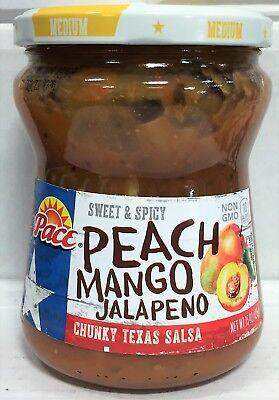 Pace Sweet & Spicy Peach Mango Jalapeno Medium Chunky Texas Salsa 15 oz