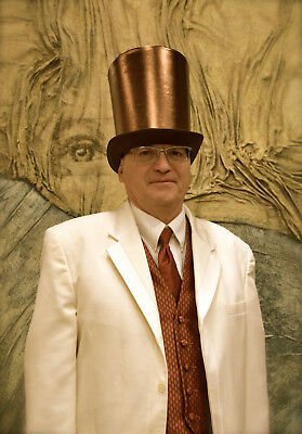 """Satin 9"""" Victorian Coachman Costume Top Hat Copper Steampunk Brown Cosplay"""