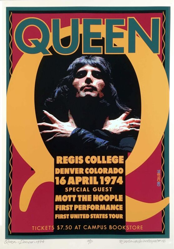 QUEEN Poster Regis College Celebrating 1st US Performance in 1974 S/N David Byrd