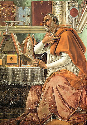 "Sandro Botticelli, 1480 Masterpiece, ST. AUGUSTINE, Antique WALL ART, 20""x14"""