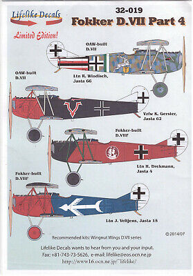 Fokker Dr.VII Part 4 decals 1/32 Lifelike 32019