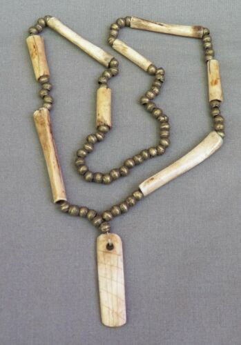 Old Ethnic Handmade Silver & Bone Necklace ~ African?