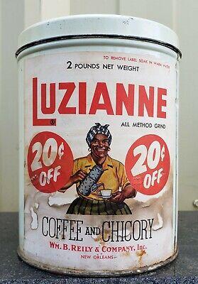 Luzianne Coffee Chicory Tin Can Black Americana Memorabilia VTG Advertising Sign